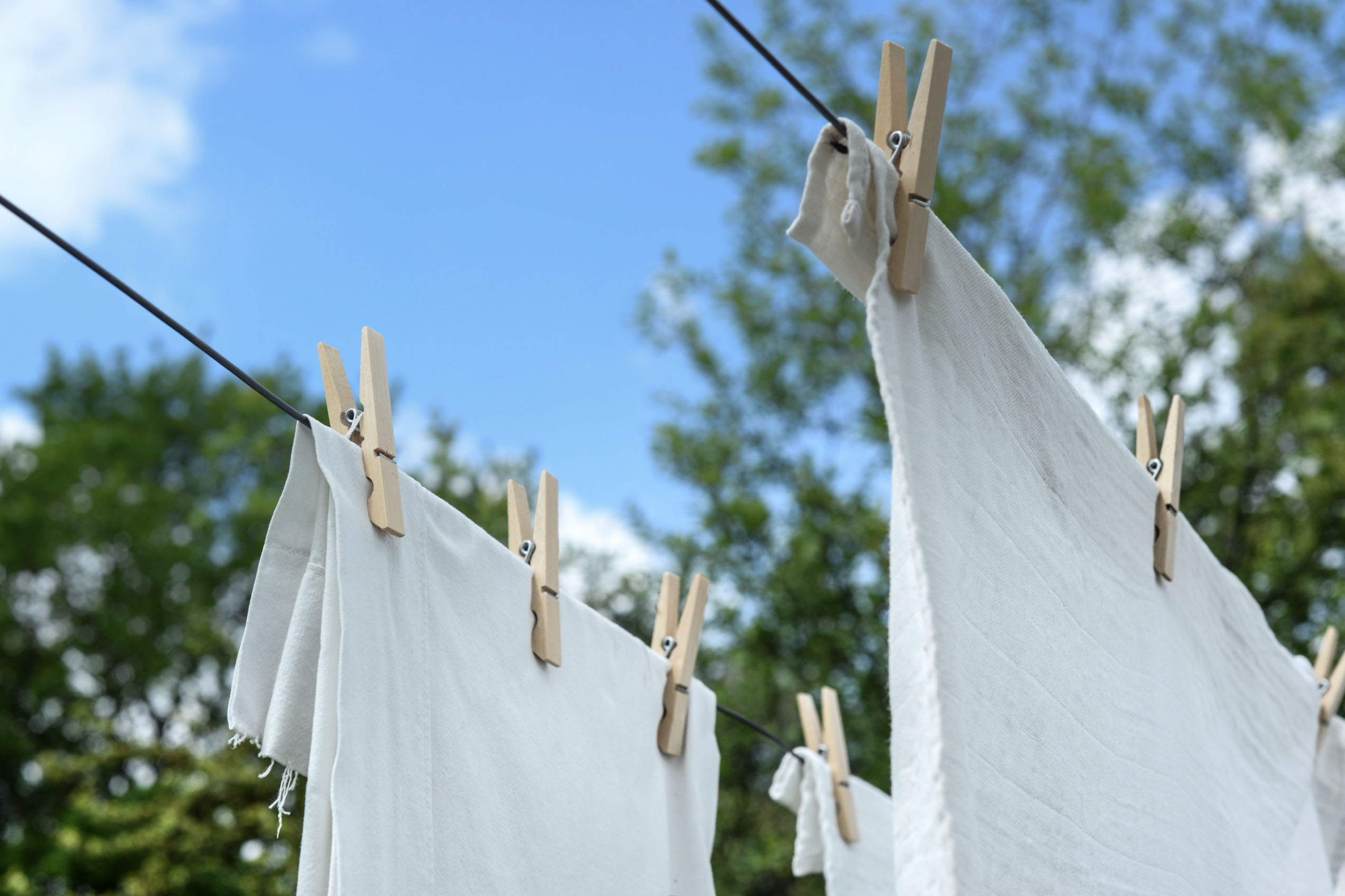 sheets hanging on a clothesline