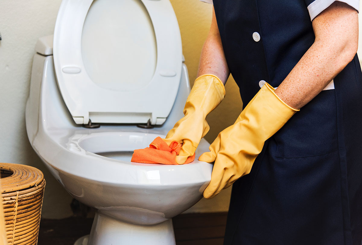 house cleaner cleaning a toilet