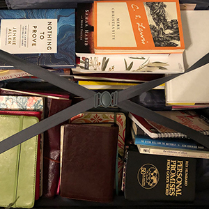 books packed into a suitcase