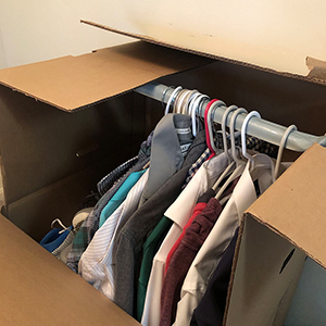 wardrobe box for packing clothes