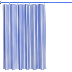 blue shower curtain assembly