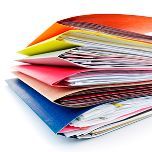 stack of colorful file folders