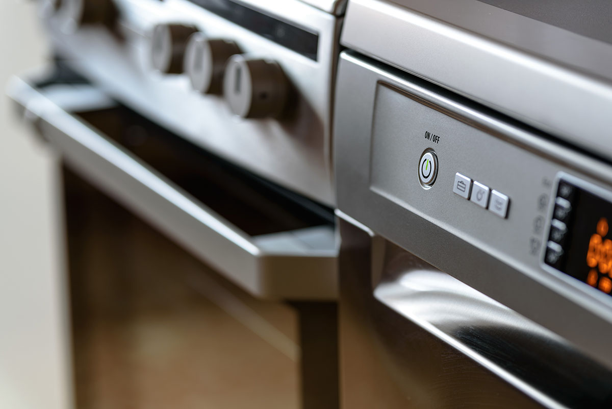 closeup of kitchen appliances