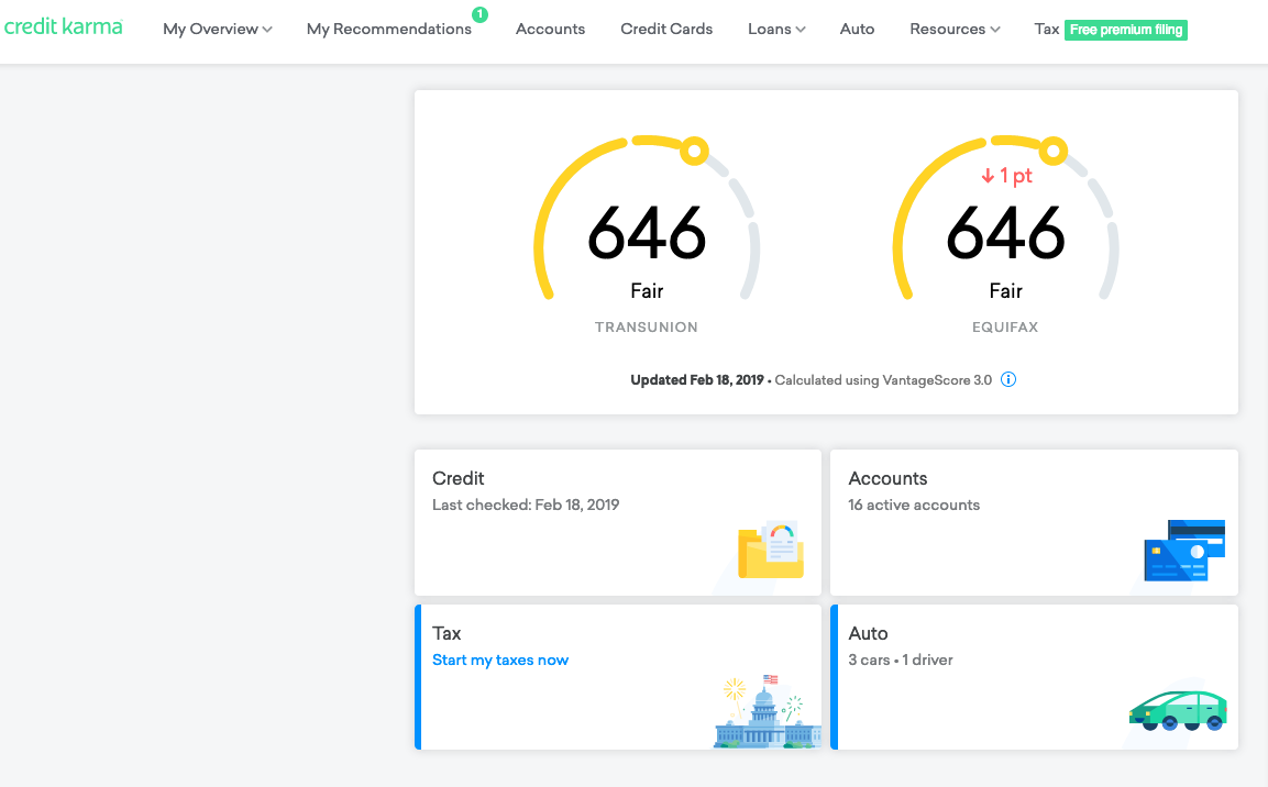 credit karma credit report dashboard