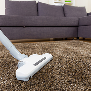 vacuuming a brown carpet