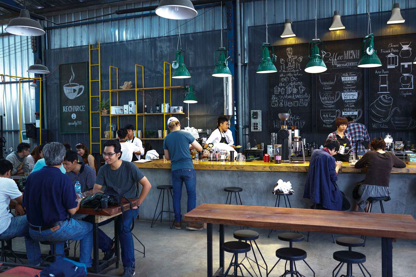 modern coffee shop with an industrial design