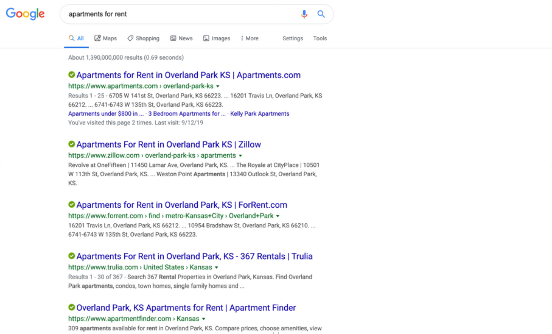 Google search results for property listings