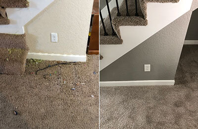 bottom of the stairs before and after