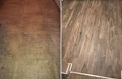 vinyl flooring installation before and after
