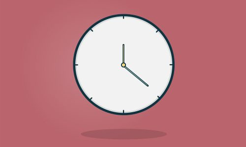 illustration of a clock with a magenta background