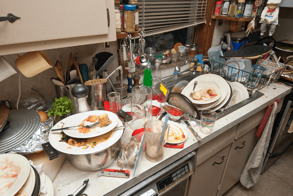 messy kitchen with dirty dishes